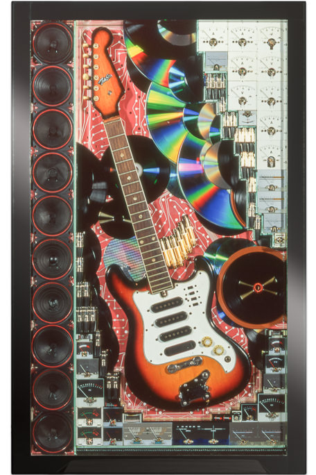 "Artwork named ""Guitare"" : cybertrash wall sculpture by Rémy Tassou. Main view."