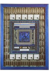 """Œuvre nommée """"Router"""" : sculpture murale cybertrash du sculpteur Rémy Tassou. Vue principale."""