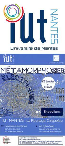 """Montage Flyer """"Métamorphoses éléctriques"""" (janvier 2014) et logo IUT de Nantes"""