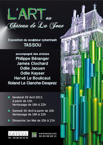 """Recto du Flyer de de l'exposition avec Rémy Tassou pour """"l'art au château de la Joue"""" (44130,Fay de Bretagne)"""