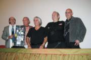 Yannick Geoffroy, Patrice Dilly, Serge Miranda, Ben Vautier et Tassou lors de la conférence.