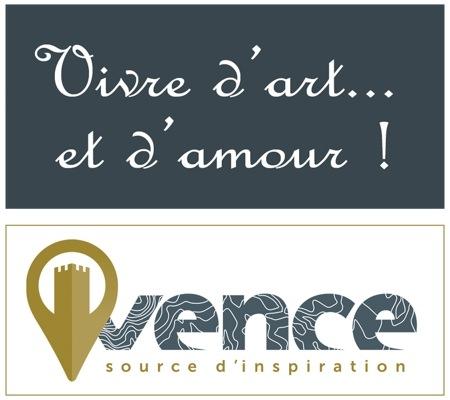 """Montage Logo ville de Vence + logo """"Vivre d'art et d'amour"""""""