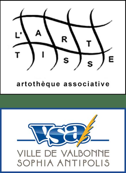 Montage logo Artothèque l'Art Tisse et logo Valbonne Sophia Antipolis, VSA