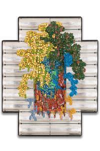 "Œuvre nommée "" SKYDRIVE "": sculpture murale Cybertrash de Rémy Tassou."