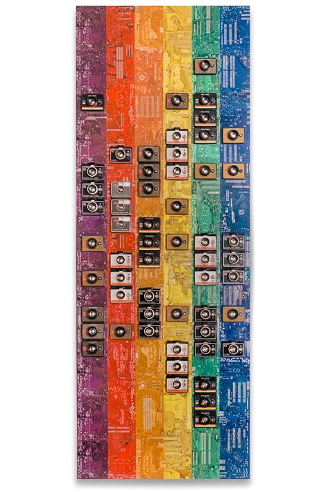 "Artwork named ""EXPOLAROID"" : Cybertrash mural sculpture by Rémy Tassou. Main View."