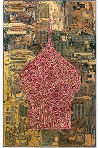 """Œuvre nommée """"Odessa"""" : sculpture murale cybertrash de Rémy Tassou. (vue principale, vignette)"""