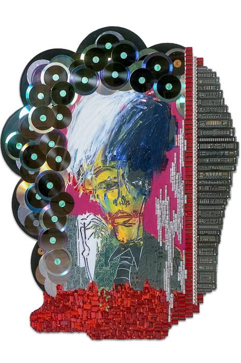 """Œuvre nommée """"Warhol"""" : sculpture murale cybertrash de Rémy Tassou. (vue principale, vignette)"""
