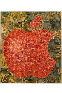"""Œuvre nommée """"Apple"""": sculpture murale cybertrash de Rémy Tassou. (vue principale, vignette)"""