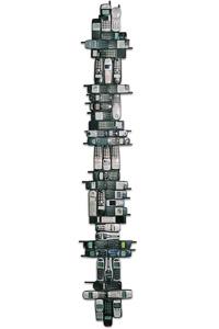 """Œuvre nommée """"Fizz"""" : sculpture murale cybertrash de Rémy Tassou (vue principale)"""