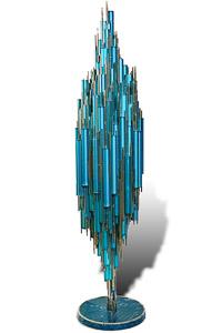 """Œuvre nommée """"Twitter"""" : sculpture cybertrash de Rémy Tassou. (vue principale)"""