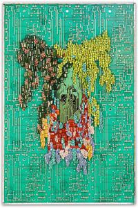 """Œuvre nommée """"Spring"""" : sculpture murale cybertrash de Rémy Tassou. (vue principale)"""
