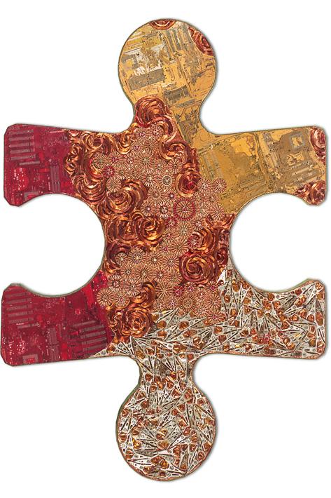 """Œuvre nommée """"Puzzle"""" : sculpture murale cybertrash du sculpteur Rémy Tassou. Vue principale."""