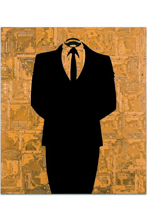 """Œuvre nommée """"Anonymous """" : sculpture murale cybertrash de Rémy Tassou. (vue principale)"""