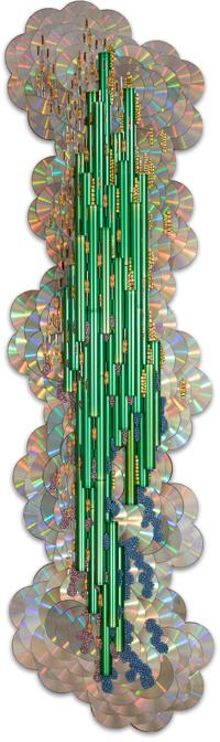 """Œuvre nommée """"Greentech"""": sculpture murale cybertrash du sculpteur Rémy Tassou."""