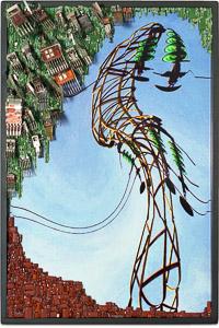 """Œuvre nommée """"Haute Tension"""" : sculpture murale cybertrash de Rémy Tassou. (vue principale, vignette)"""
